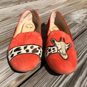 C. Wonder Orange Suede Giraffe Flats